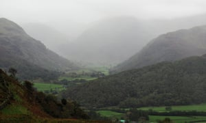 """Autumn rain in Borrowdale: """"heavy masses of shapeless vapour upon the mountains""""."""