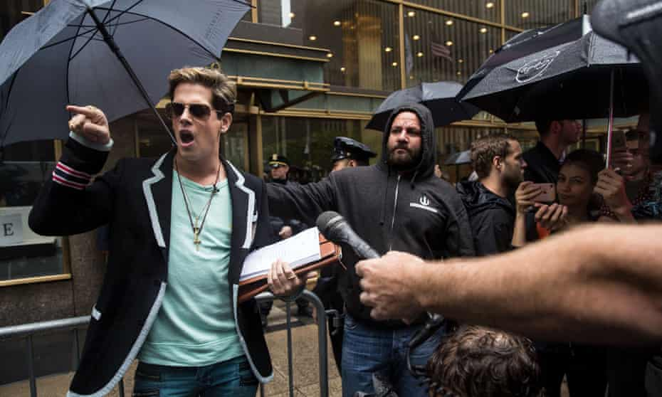 Milo Yiannopoulos speaks outside the offices of Simon & Schuster in 2017 after the publisher's decision to cancel his book deal.