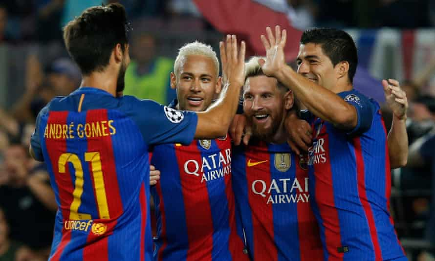 Lionel Messi celebrates one of his three and Barcelona's seven in the mauling of an outclassed Celtic at the Camp Nou on Tuesday.