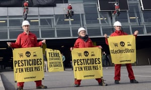 Greenpeace campaigners protest against the use of pesticides in France.