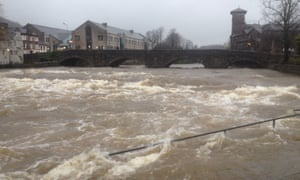 The swollen river Kent in Kendal, Cumbria.