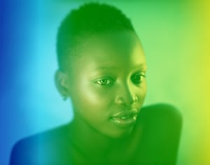Black girl blue and green portrait