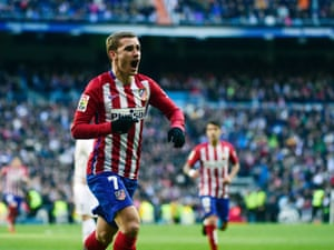 Antoine Griezmann celebrates after opening the scoring.