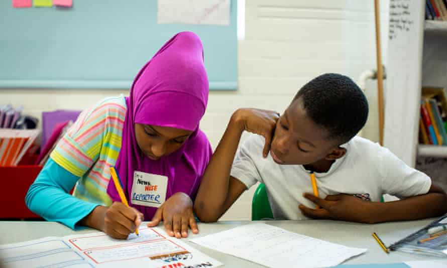 Year 6 pupils take part in a NewsWise workshop. Photograph: David Levene/NewsWise