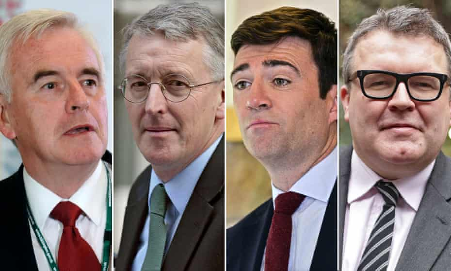 Members of the new shadow cabinet: John McDonnell, Hilary Benn, Andy Burnham and Tom Watson.