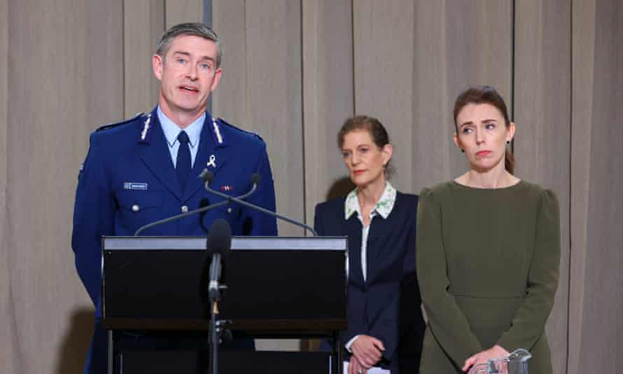 Police commissioner Andrew Coster with director-general of security Rebecca Kitteridge and Jacinda Ardern ahead of the release of the royal commission of report into the 15 March terror attacks.