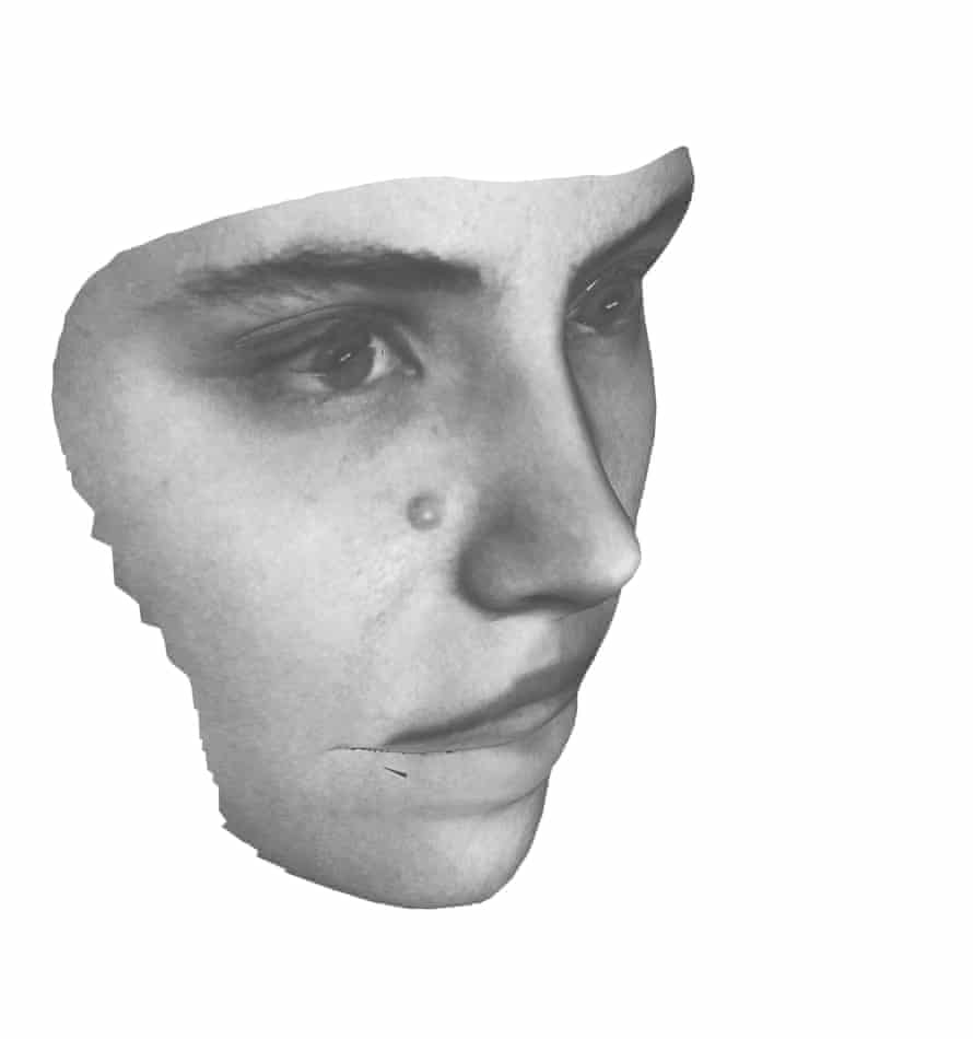 Adam Broomberg and Oliver Chanarin's The Revolutionary, from Spirit Is a Bone, 2013, which uses a facial-recognition system developed by the Russian government for identification of individuals at public demonstrations, transit spaces, and state borders.