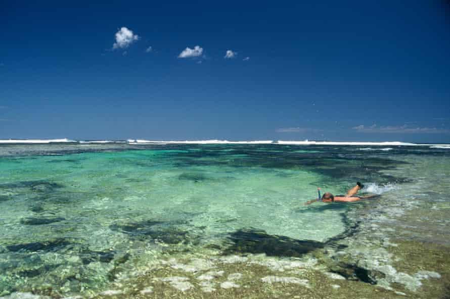 A snorkeller on Ningaloo Reef