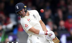 England's Rory Burns avoids a short ball while weathering the Australia bowling attack