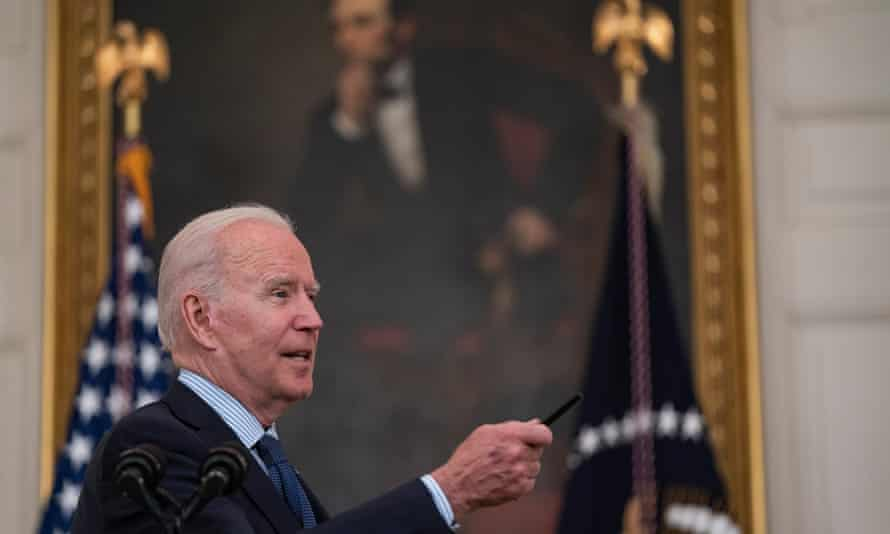 Joe Biden takes questions after delivering remarks on the Covid-19 response and the vaccination program in the White House.