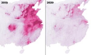 Pollution levels in China in 2019, left, and 2020.