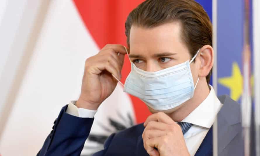 Austria's leader, Sebastian Kurz  in a mask