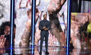 Michael B Jordan on stage at the BET Awards