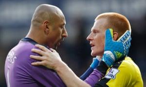 Heurelho Gomes celebrates the win at West Brom with Watford's goalscorer, Ben Watson