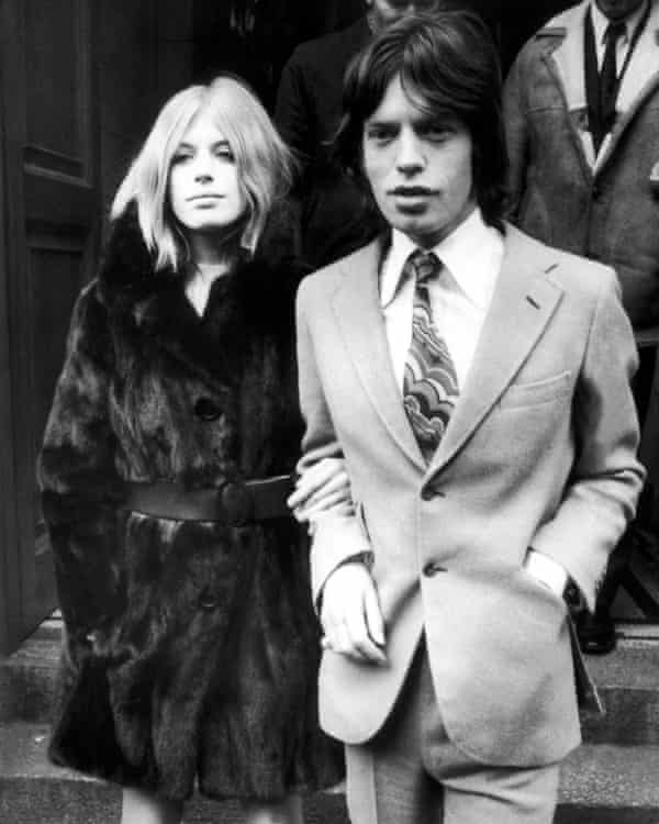 Leaving court with Mick Jagger after the couple were charged for cannabis possession, 1969.