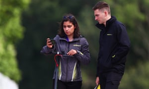 Jamie Chadwick walks the track with her engineer ahead of the sixth and final round of the W Series at Brands Hatch.