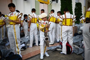 Members of the Salesian Band prepare for a rehearsal outside the National Stadium in the Pathum Wan district in Bangkok ahead of Pope Francis' arrival