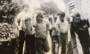 Pete Paphides, centre, with group of other boys.
