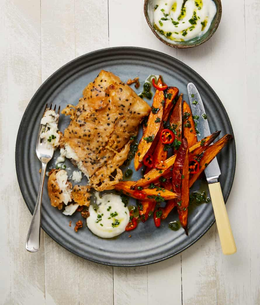 Yotam Ottolenghi's take on fish'n'chips is this buckwheat battered cod with sweet potatoes and toum.