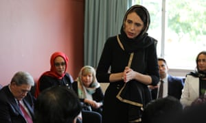 New Zealand Prime Minister Jacinda Ardern speaks to representatives of the Muslim community at Canterbury refugee centre in Christchurch