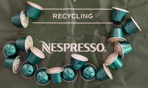 Nespresso coffee capsules on a recycling bag