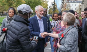 Jeremy Corbyn meets members of the public during a visit to the Alone with Empire exhibition at City Hall in Bristol
