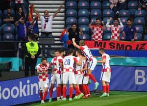 Croatia's Luka Modric celebrates scoring their second goal with team mates.