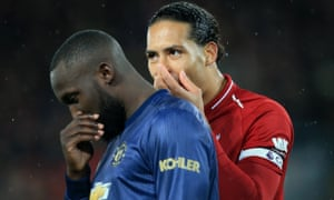 Romelu Lukaku (left) had Virgil van Dijk of Liverpool for company all afternoon as Manchester United lost 3-1.