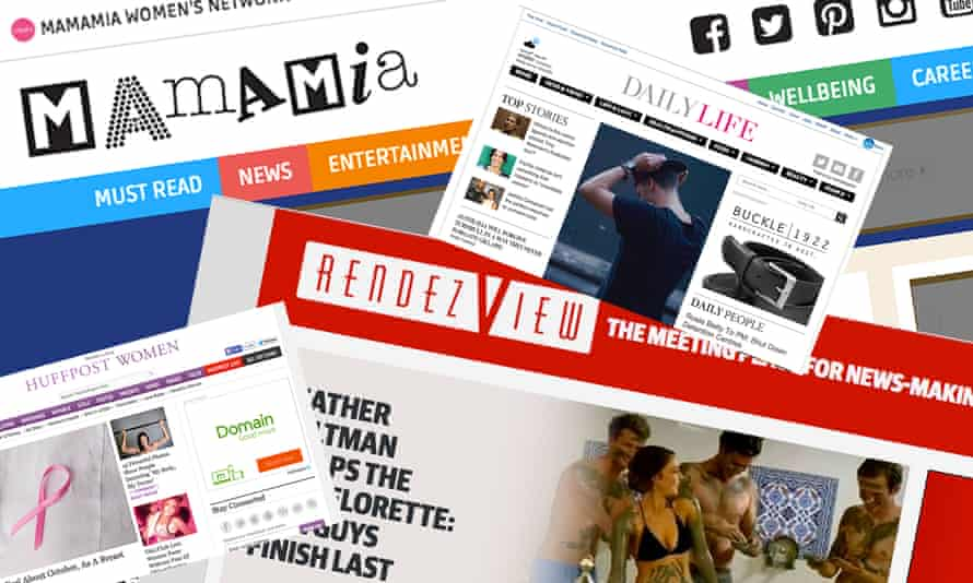 Screengrabs of websites including MamaMia, RendezView, Daily Life, Huffington Post Women. October 1, 2015
