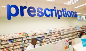 Prescriptions counter at a Boots pharmacy in England.