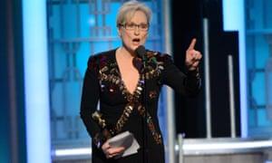 Meryl Streep during her Golden Globes speech.
