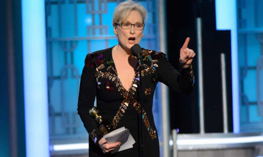 A handout photo made available by the Hollywood Foreign Press Association (HFPA) on 09 January 2017 shows Meryl Streep accepting the Cecil B. DeMille Lifetime Achievement Award during the 74th annual Golden Globe Awards