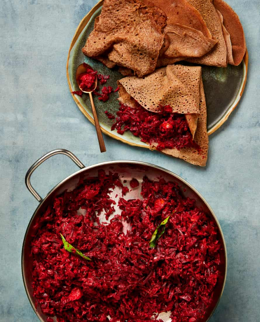 Meera Sodha's spiced beetroot with 60 minute injera.