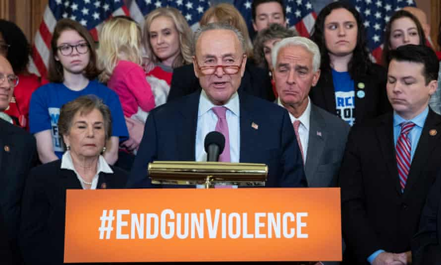 Senator Chuck Schumer takes part in an event urging the Senate to vote on background checks for gun purchases in February 2020. Schumer is now the majority leader in the Senate.