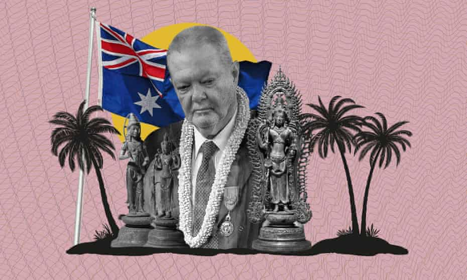 British Khmer art collector Douglas Latchford and Cambodian statues