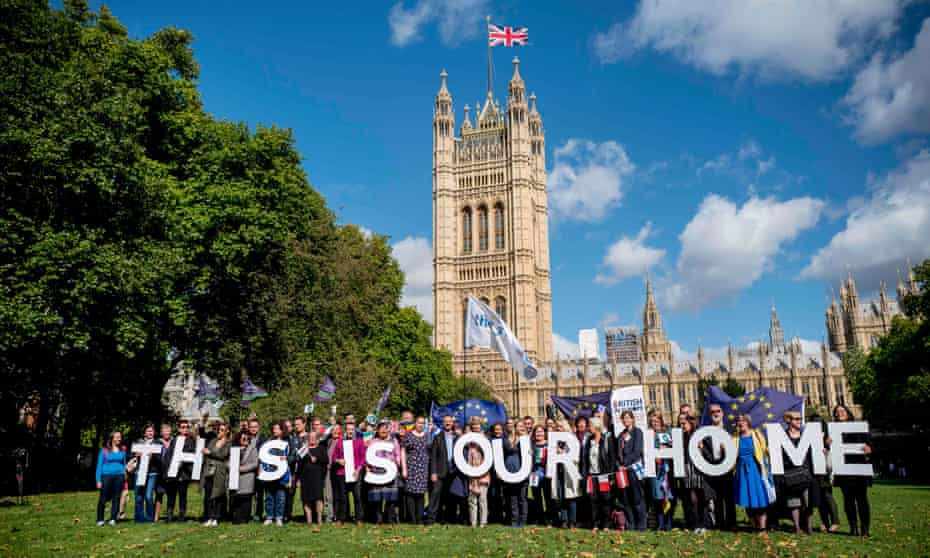 Demonstrators outside parliament lobby MPs to guarantee the rights of EU citizens living in the UK post-Brexit in September.