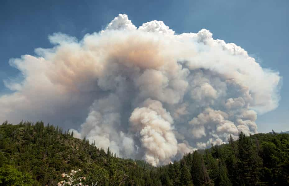 A large pyrocumulus cloud (or cloud of fire) explodes during the Carr fire.