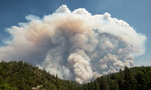 A large pyrocumulus cloud explodes after fire.