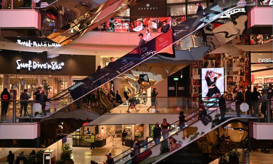 Shoppers flock to a Westfield shopping centre in Bondi Junction, Sydney