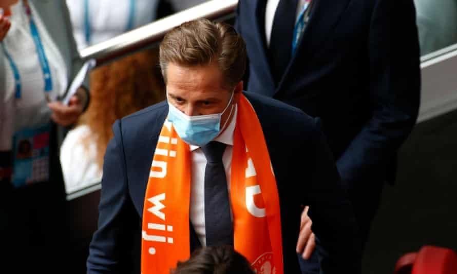 The Dutch health minister, Hugo de Jonge, attending a Euro 2020 game in Amsterdam in June