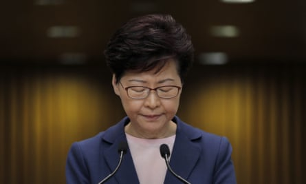 Carrie Lam during a press conference