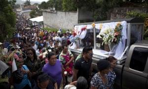 The funeral of Honduran activist Lesbia Yaneth Urquía in Marcala, Honduras.