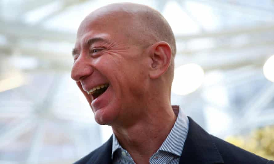 Laughing all the way … Jeff Bezos.