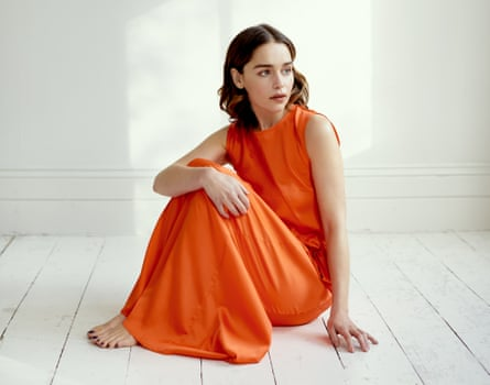'Actors are always observing, whatever  we are going through': Emilia Clarke wears a sleeveless silk dress by Maggie Marilyn at harveynichols.com