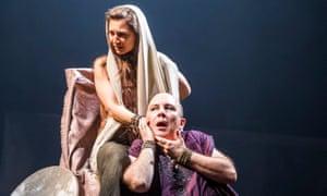 Isabella Nefar as Salomé and Paul Chahidi as Herod at the Olivier.
