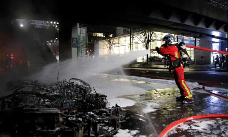 A firefighter at the scene of a fire near Gare de Lyon railway station in Paris.