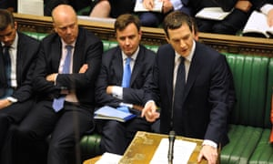 George Osborne delivering his Budget statement to the House of Commons.