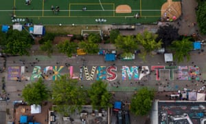 An aerial view of a Black Lives Matter mural on East Pine Street near Cal Anderson Park in the 'Chop' area of Seattle on 14 June 2020.