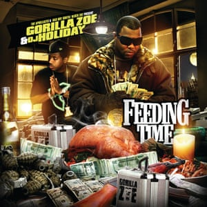 """Gorilla Zoe and DJ Holiday – Feeding Time – Design by Tansta . In the book Tansta describes how he refuses do """"unrealistic"""" stuff like putting hundreds of thousands of dollars in the street. However he doesn't seem to have any issues when it comes to mixing a greasy turkey and shrimps with the almighty dollar. In Miami 100% (the national average is 90%) of all dollar bills has traces of cocaine on them, no statistics are available on how many are stained by turkeys"""