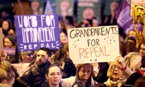 A Grandparents for Repeal sign during a march through Dublin.